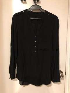 Zara Black Long Sleeves Top (US XS)