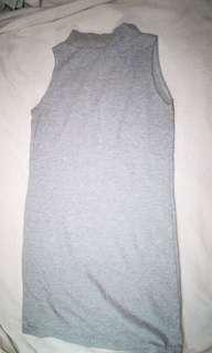 Ribbed Turtleneck Dress - Gray