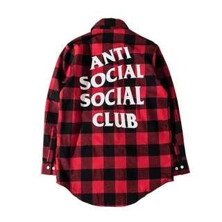 Unisex Anti Social Social Club Plaid Flannel Shirt (Replica)