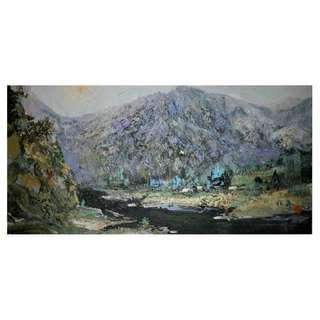 董仙舟大師 -「陽光下的大山」油畫
