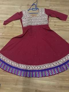 Anarkali Punjabi suit red cotton
