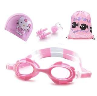 Swimming set with Goggles, Cap, Nose clip, ear plug and Bag