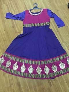 Anarkali Punjabi suit cotton material purple