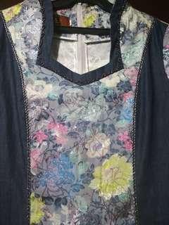 Colorful floral/denim Elegant dress