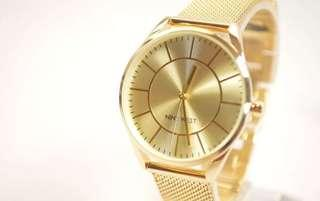 Authentic NINE WEST GOLD DIAL GOLD MESH LADIES WATCH