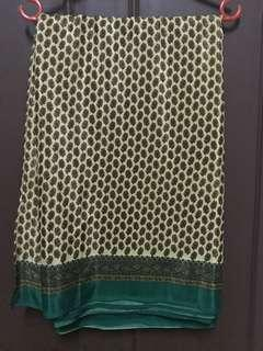 Saree green and beige with stitched Saree blouse