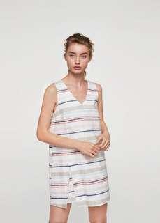 Mango linen stripe dress