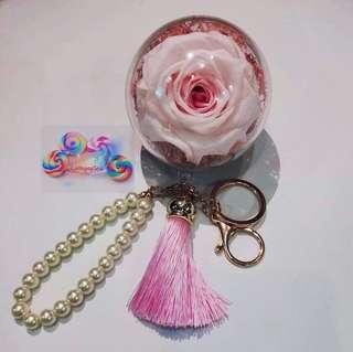 🚚 DIY Fresh Preserved Rose Keychains (Pink Roses)