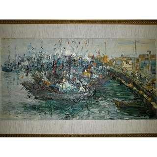 董仙舟大師 -「漁港」油畫