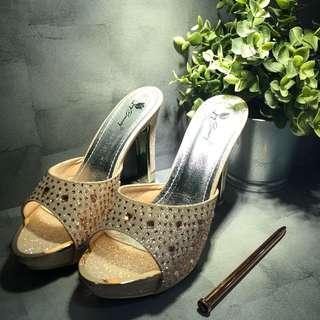 """🚚 4.5"""" Rose Gold Crystal Dinner Platform Shoes Heels Stilettos"""