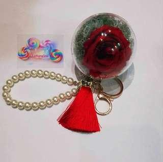 🚚 DIY fresh Preserved Roses keychains ( Red Roses)