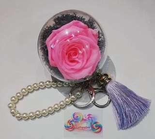 🚚 DIY fresh Preserved Roses keychains (Bright Pink Roses)