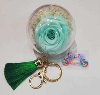 🚚 DIY fresh Preserved Roses keychains (Turquoise Roses)