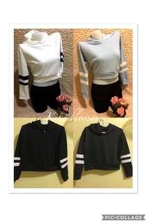 Korean crop top hoodie