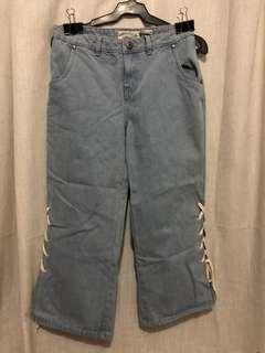 Brand New Denim Lace Up Cullotes Waist 26