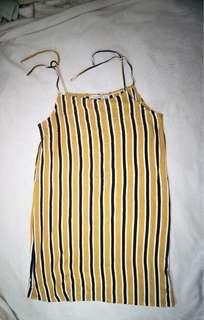 Bershka Striped Dress - Yellow