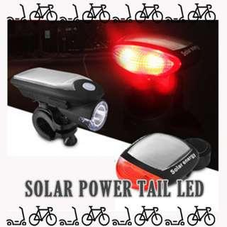 Bicycle E scooter Solar Rechargeable back tail LED light