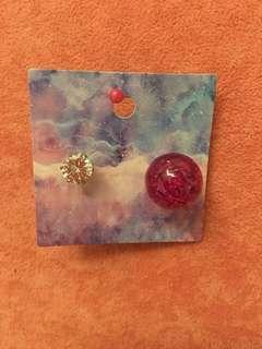 閃石紫紅色波波耳環(前閃石後紫紅波)