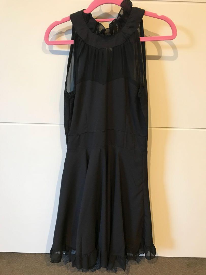 Black party dress chiffon - size 6-8