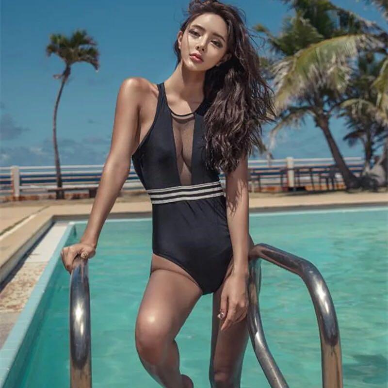 Black see through one piece swimwear size 6/8