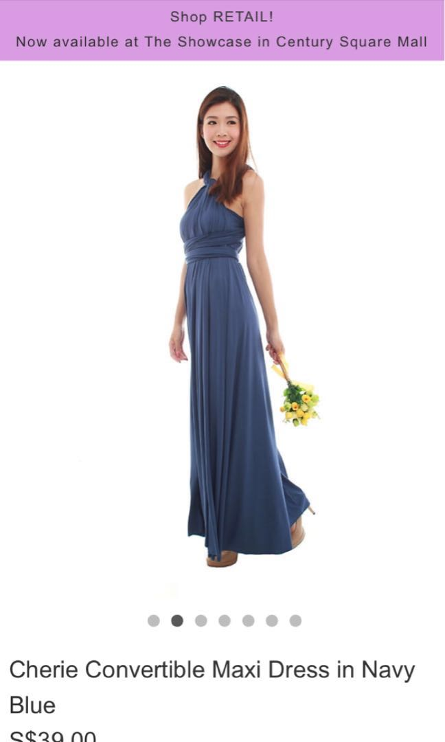 4bf459ce46 BMD Cherie Convertible Maxi Dress in Navy Blue with Tube