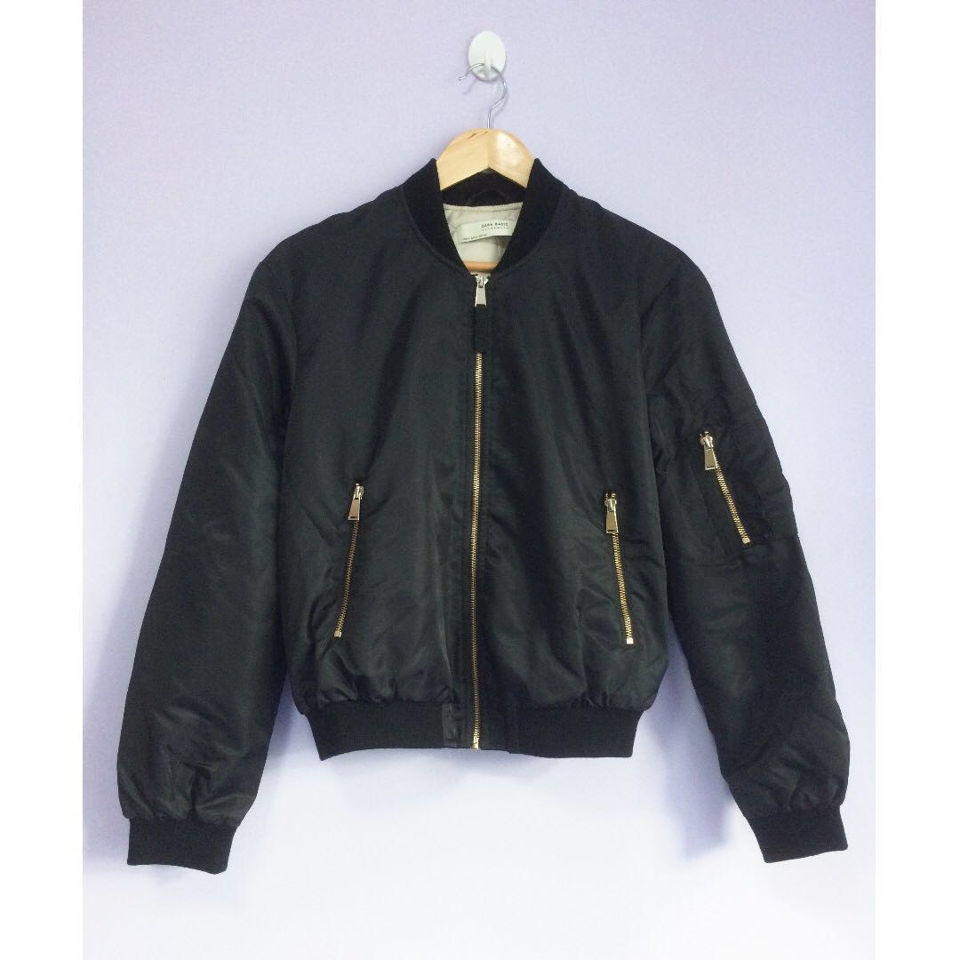 bfba4a74907d BN ZARA Women s Bomber Jacket with Gold Zips