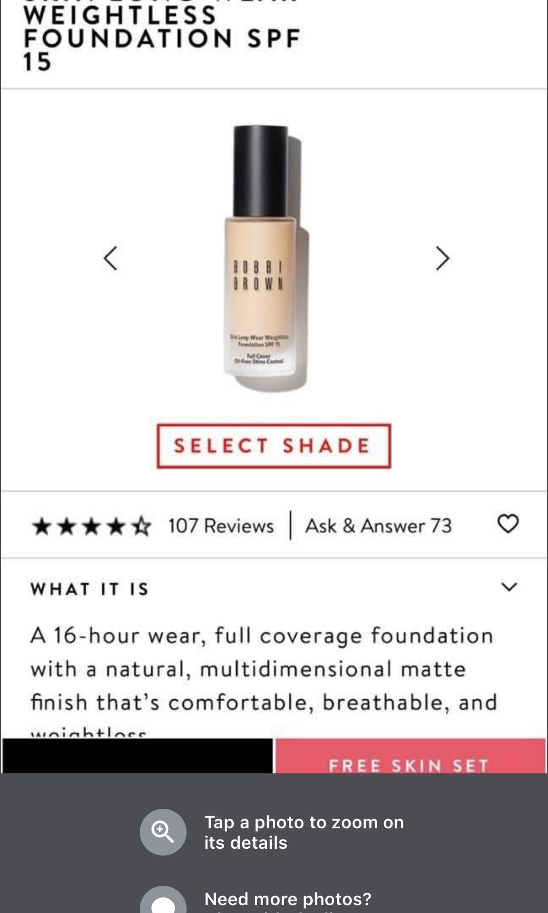Bobbi Brown Skin Long Wear Weightless Foundation Spf 15 Health