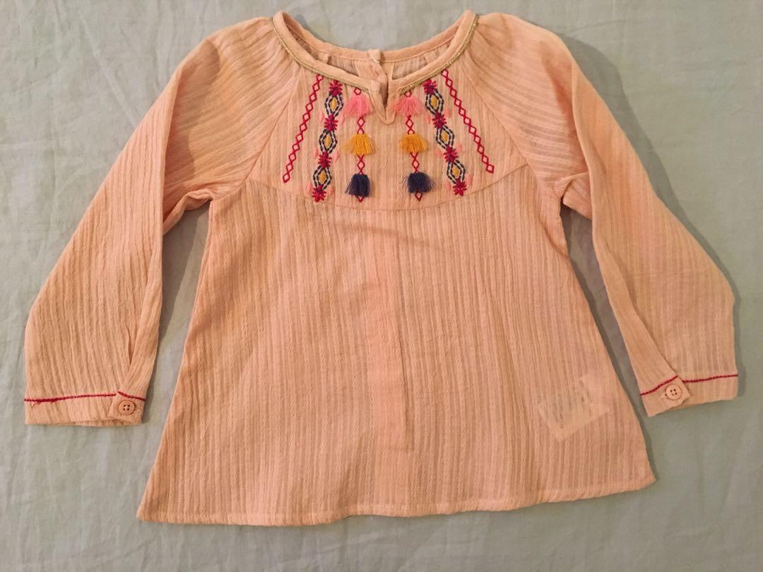 BRAND NEW Fox and Finch Dusty Rose Top, with Contrast Pink and Gold Embroidery