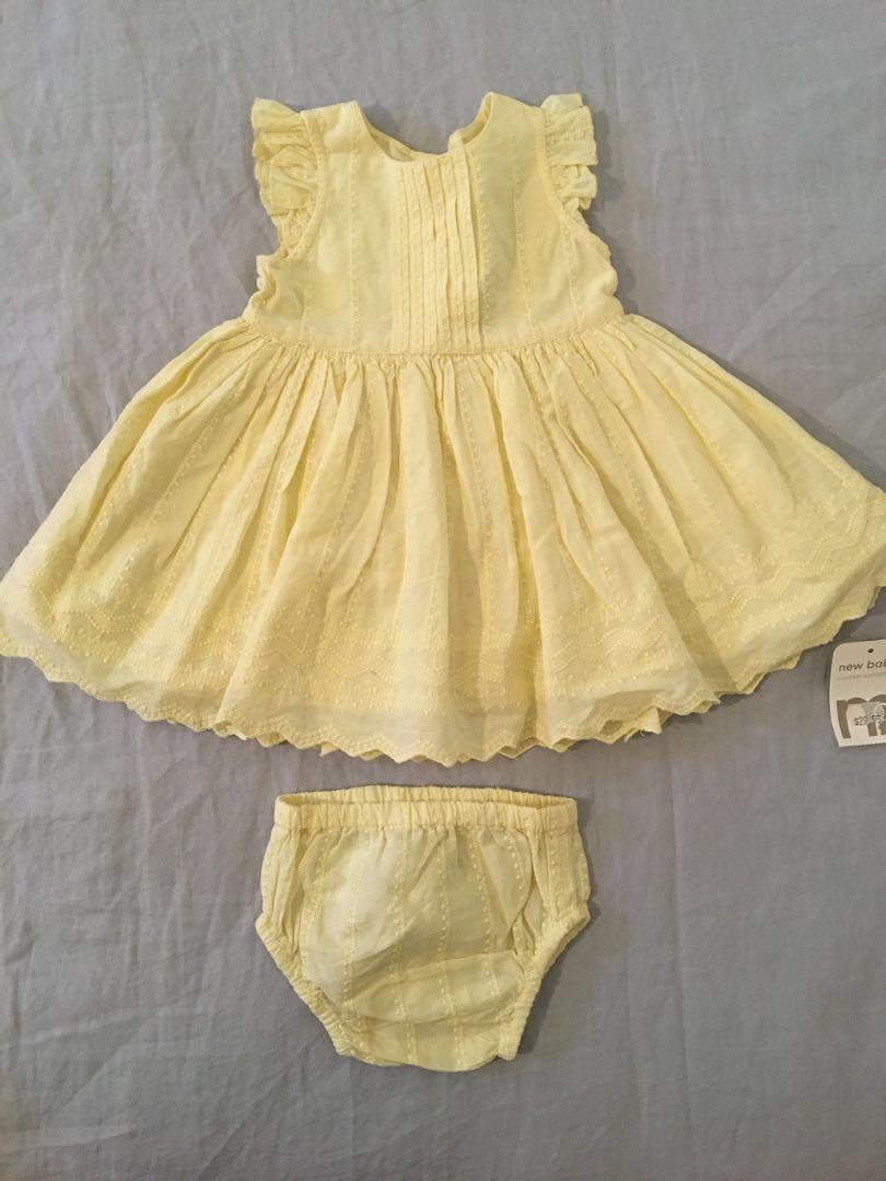 BRAND NEW Lemon Yellow Vintage Style Broderîe Anglaise Dress