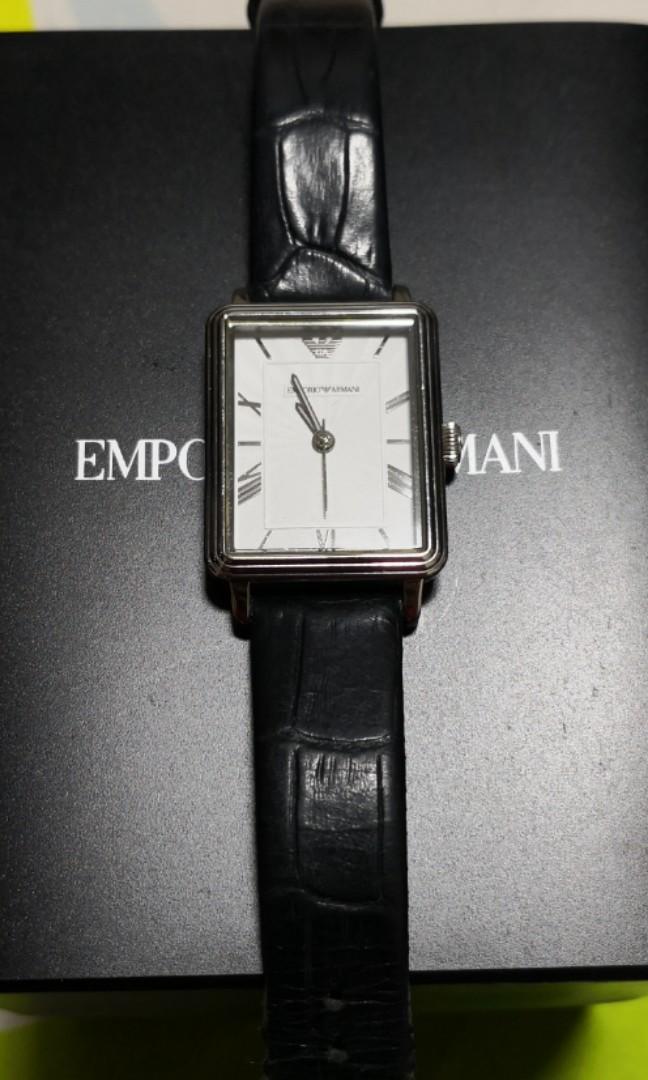 5c6d920f7fbb0e Emporio Armani women's watch - black strap, Luxury, Watches on Carousell