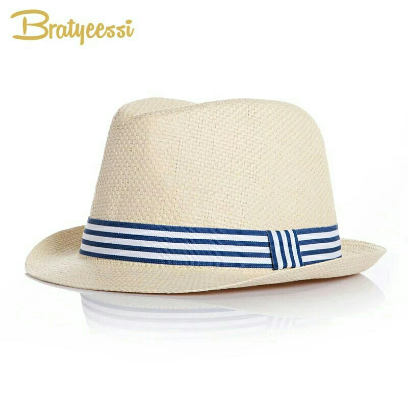 809bf0d564ccb Fashion Summer Baby Hat Brief Straw Kids Fedora Hats for Boys Girls ...