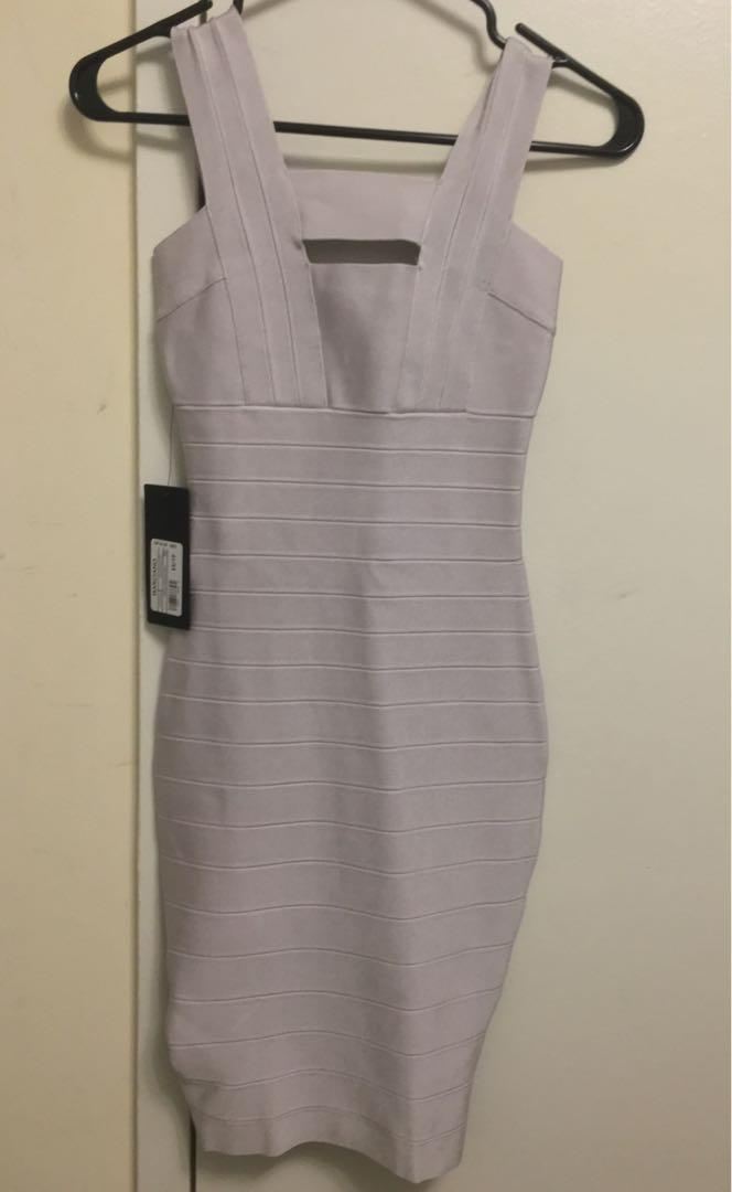 Guess Marciano Silver Bandage Bodycon Dress - Size XS