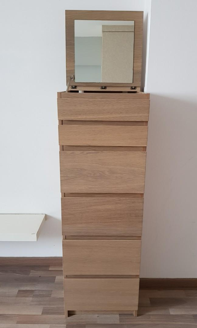 Ikea Malm 6 Drawer Chest With Mirror Furniture Shelves Drawers On Carousell