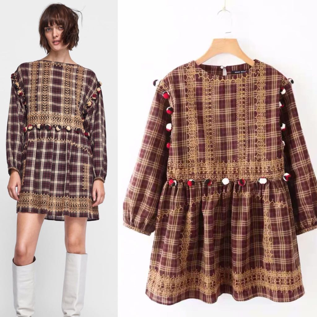 08ed3d04 Inspired Zara A Line Dress Check Dress With Pompom, Women's Fashion, Clothes,  Dresses & Skirts on Carousell
