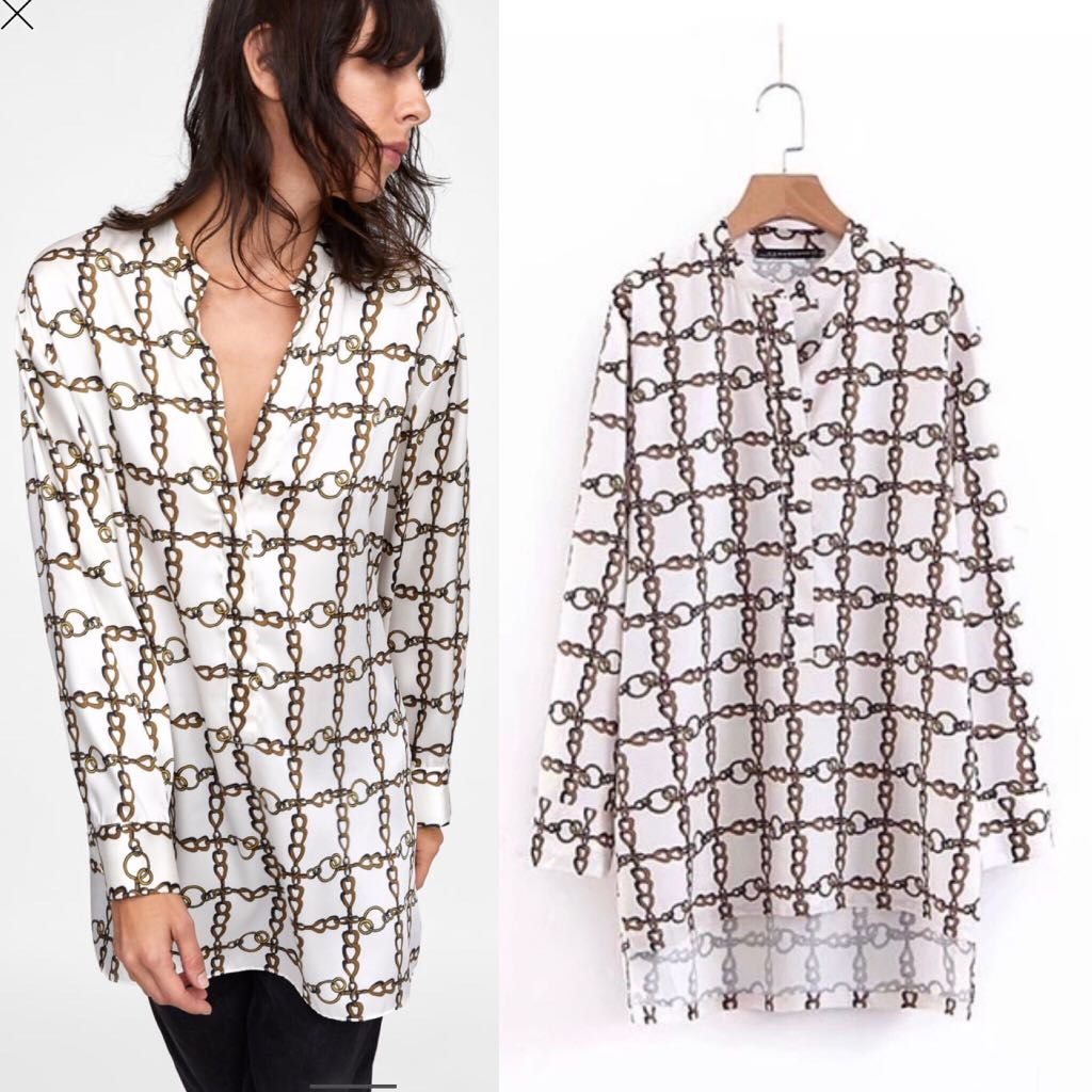 9808a04efd2 💃🏼Inspired Zara Chain Print tunic blouse loose fitting