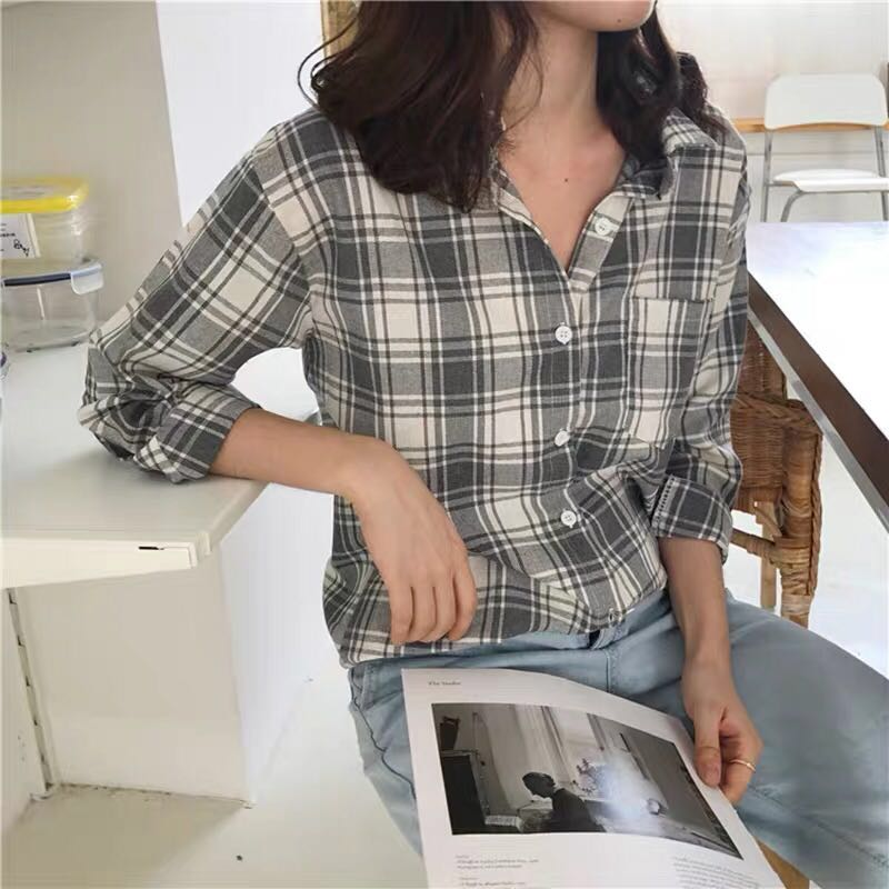 4b3ca167 instocks oversized checkered blouse shirt / flannel, Women's Fashion ...