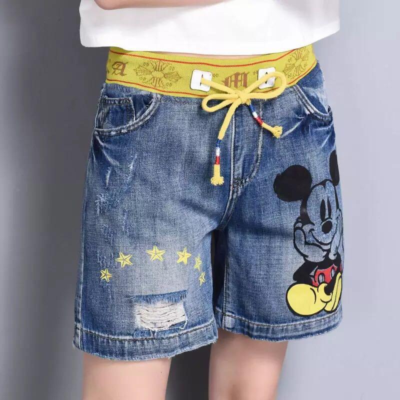 d97416d31 Mickey Mouse Drawstring Elastic Waistband Denim Shorts, Women's ...
