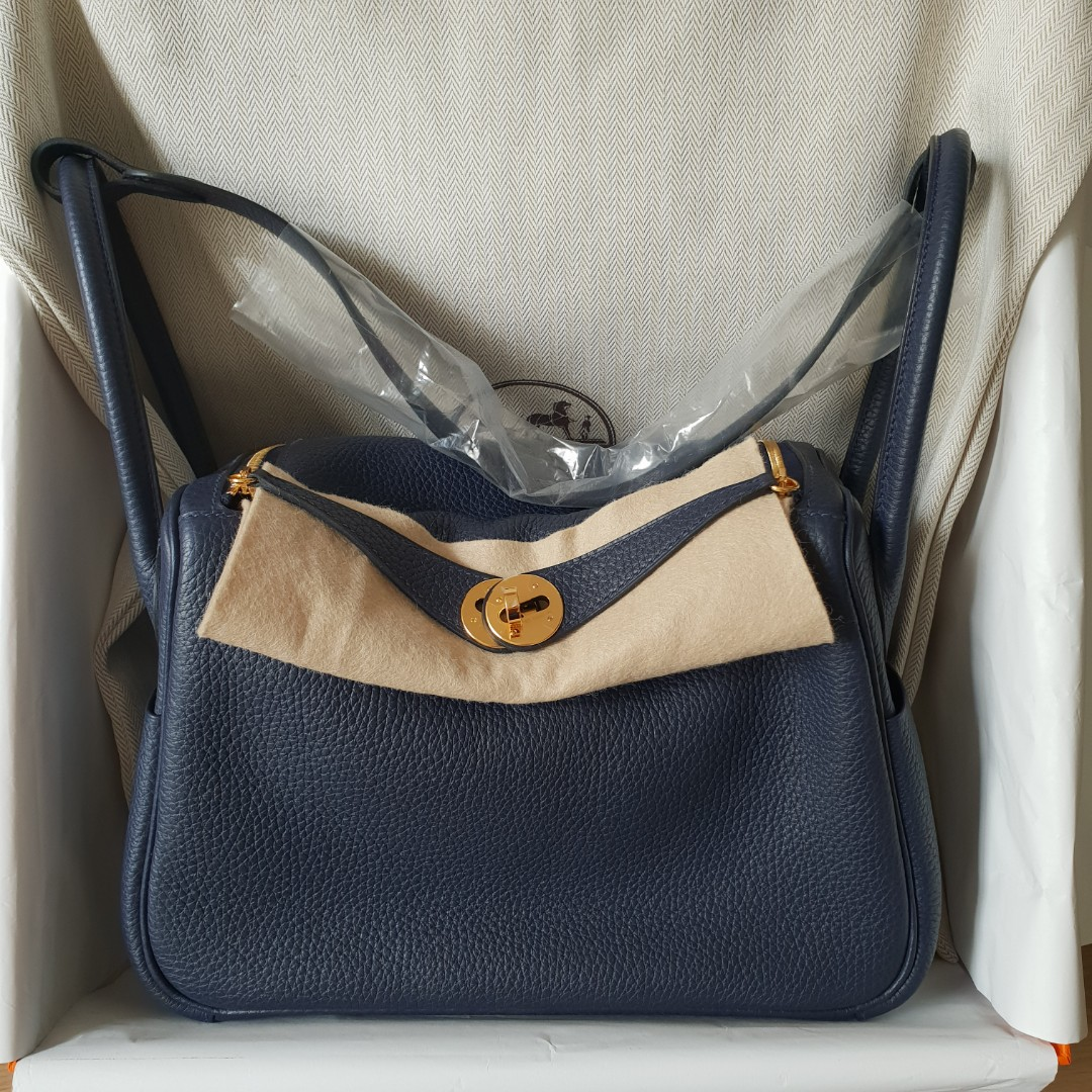 6abc4bb825ba New Hermes Blue Nuit Clemence Lindy 26 GHW stamp C