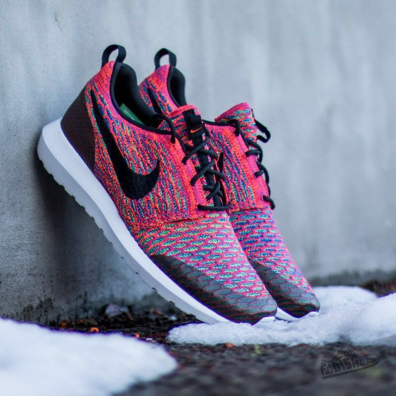 finest selection dd627 c47ce Nike Roshe NM Flyknit SE Bright Crimson Pink Sneakers, Mens