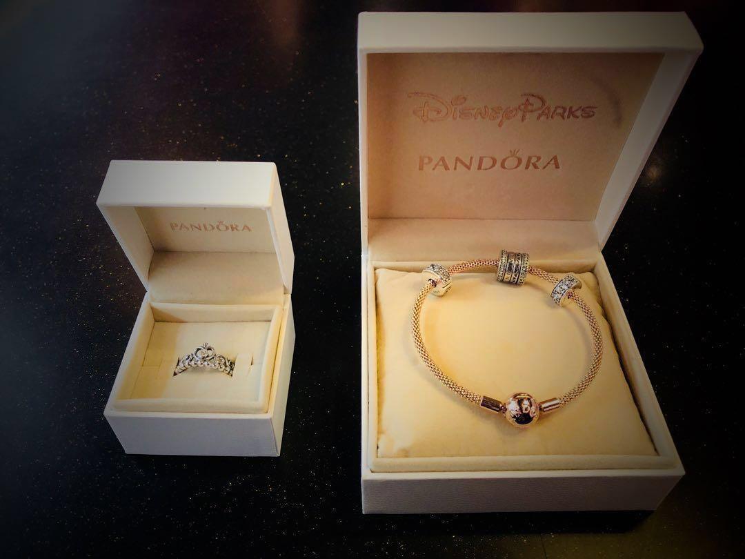 87c421d39 🎀🎁PANDORA rose gold bracelet with charms & TIARRA silver ring ...