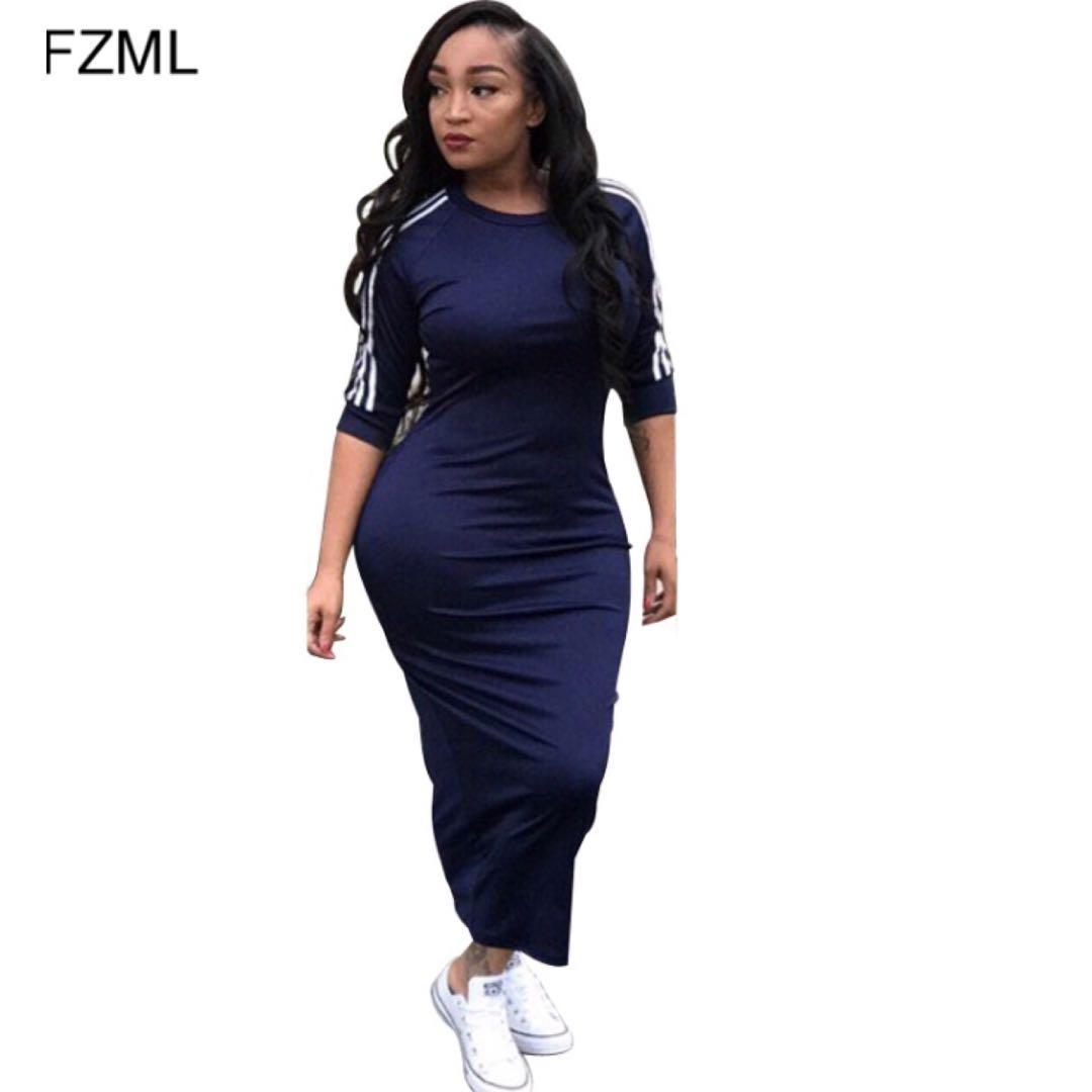 444e5888e0 (PO) S-XXXL White Side Stripe Streetwear Bodycon Dress 2018 a Summer Women  Half Sleeve Plus Size Dress