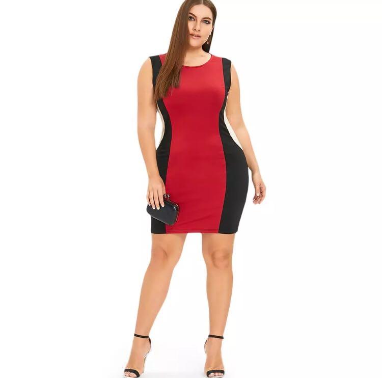 f10fe04bf0 PO) XL-5XL Plus Size Sleeveless Hourglass Mini Dress Sexy Club ...