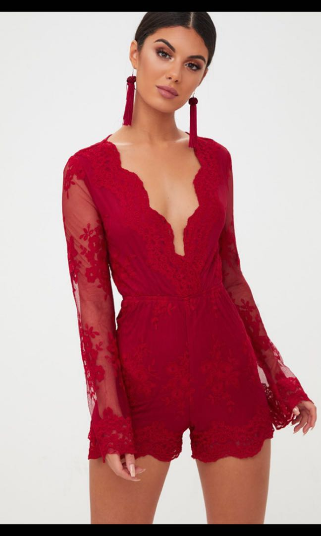 ab0c4967a8f PrettyLittleThing Red Lace Bell Sleeve Playsuit