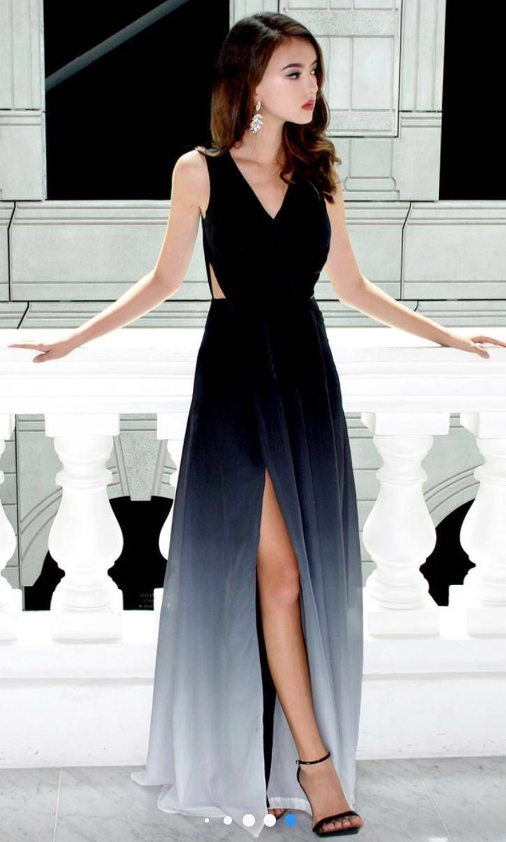 Prom Dress Maxi Ombre Slit Dress Night Gown Womens Fashion