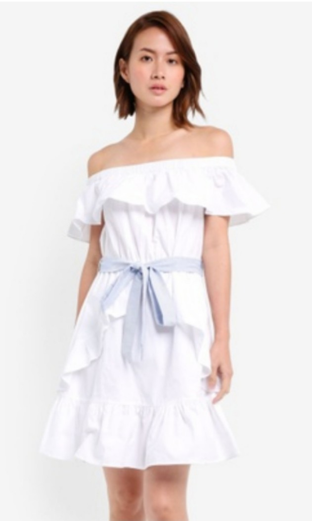 08ef7a36dd15 Ruffle White Off Shoulder Dress with Belt