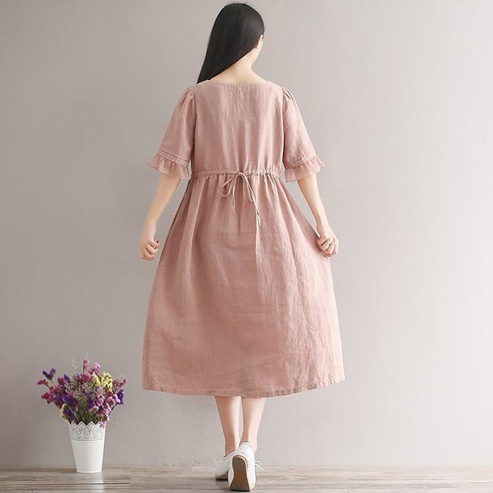 Short Sleeve Long Female Dress