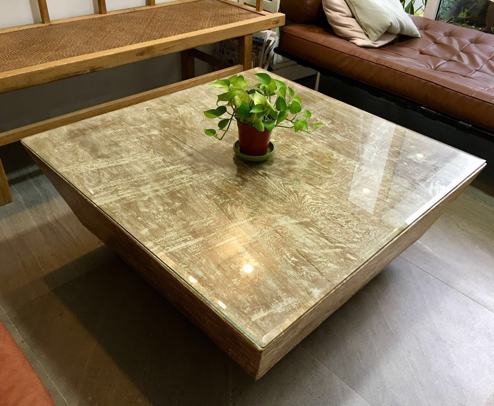 Solid Wood Square Coffee Table With Tempered Glass Top Furniture