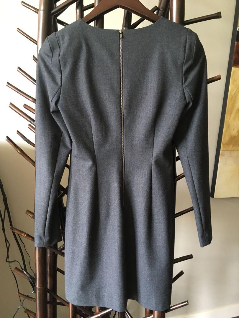 Theory Grey Flannel above knee dress