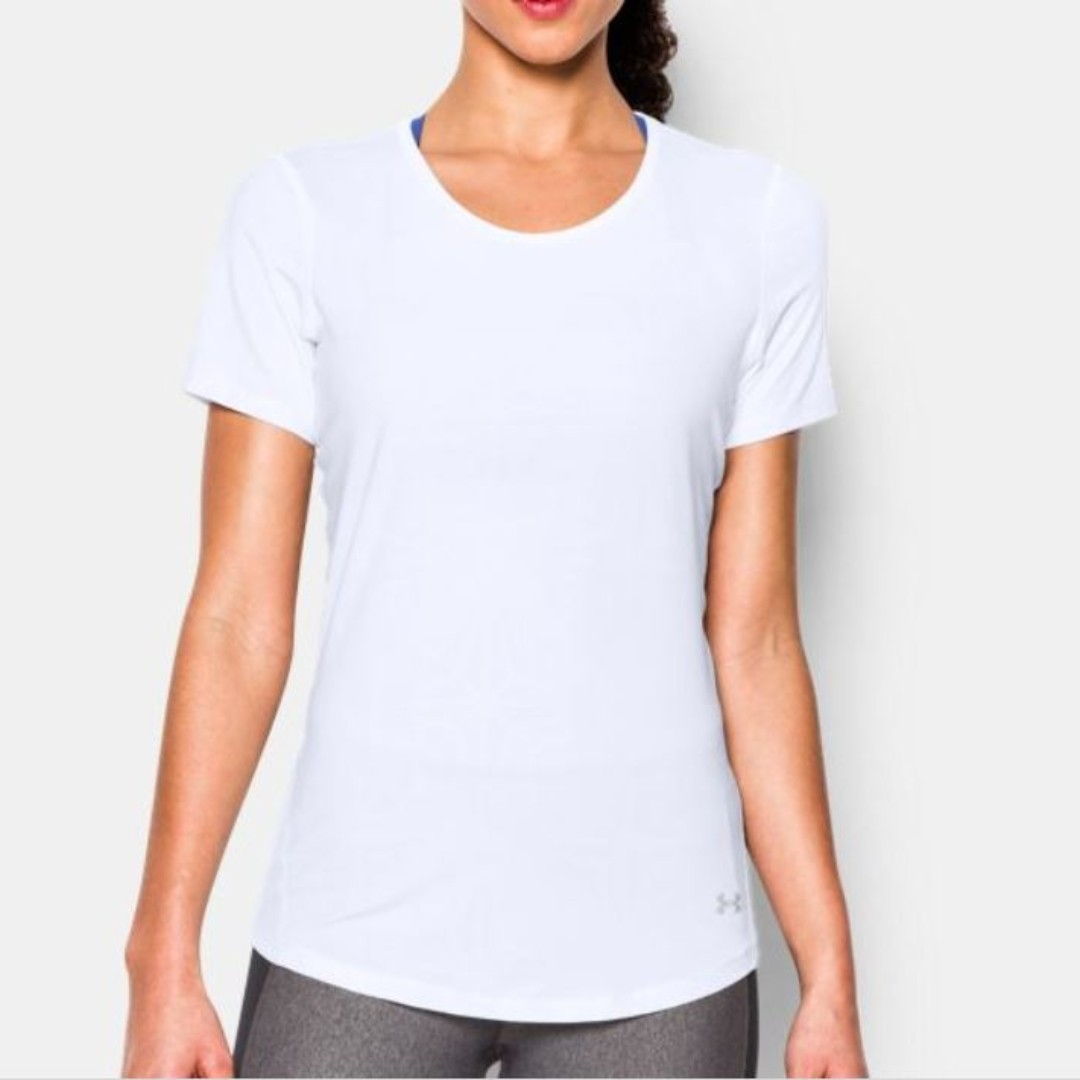 39a5d7fb Under Armour Women's HeatGear CoolSwitch Short Sleeve - White, size ...