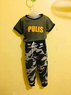 Pulis tshirt and jogger pants for kids 2 to 4 yrs old